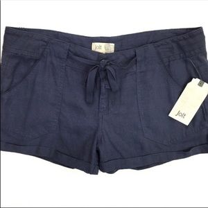 New Jolt Linen Blend Navy Shorts Drawstring NWT
